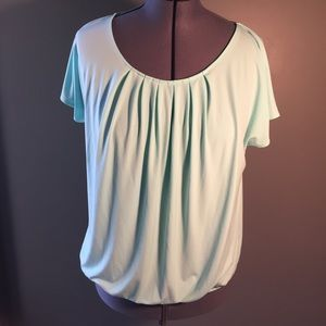 New York & Company Blouse Scoop Neck Pleated Blue